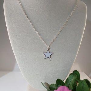Jewelry - Star Pendant Necklace - White Enamel